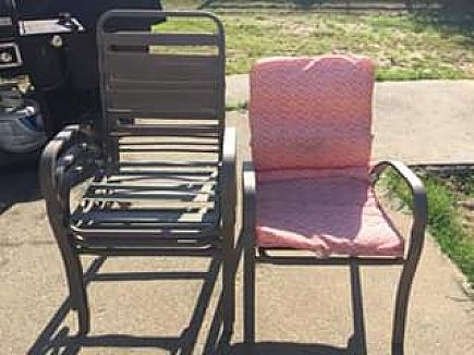 ad four outdoor dining chairs with cushions