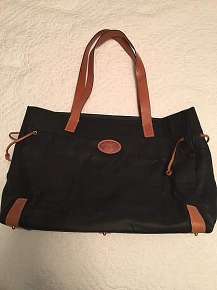 ad dooney & burke black and brown canvas and leather tote bag purse