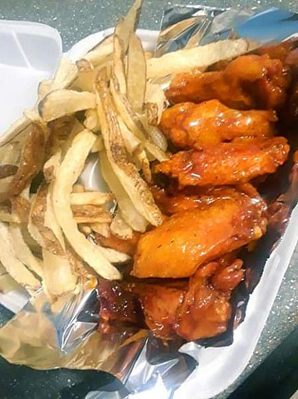 ad loaded potato with steak and shrimp 2 for 20$. wings w/ fries 10 piece for 12$, 12 piece for 14$. 2$