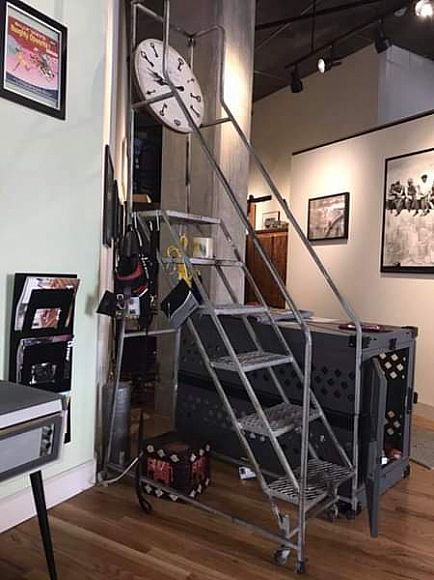 ad vintage steel 10' mobile library stairs