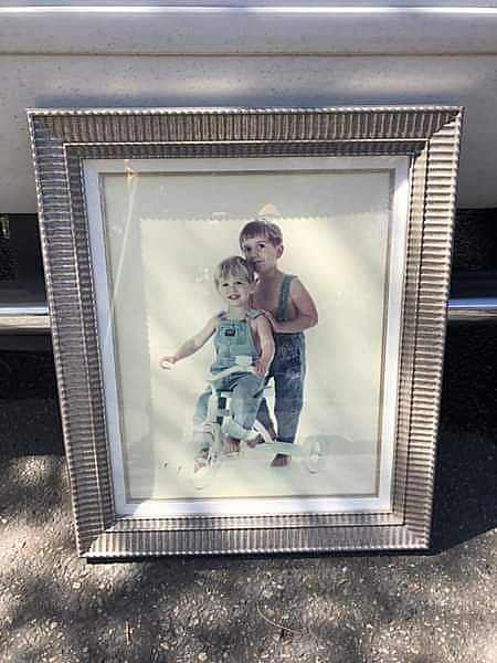 ad picture frame (custom) with boxed linen matte and glass front. high quality
