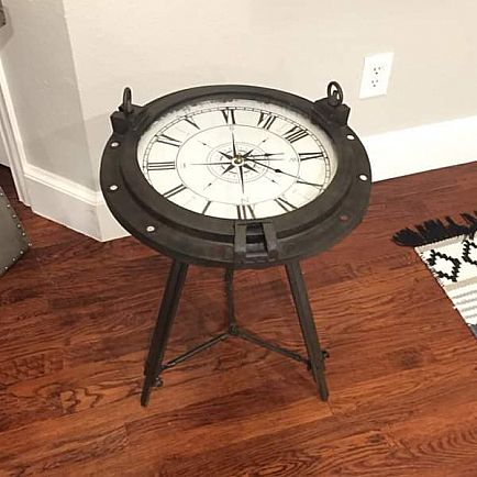 ad aviator table with clock & compass