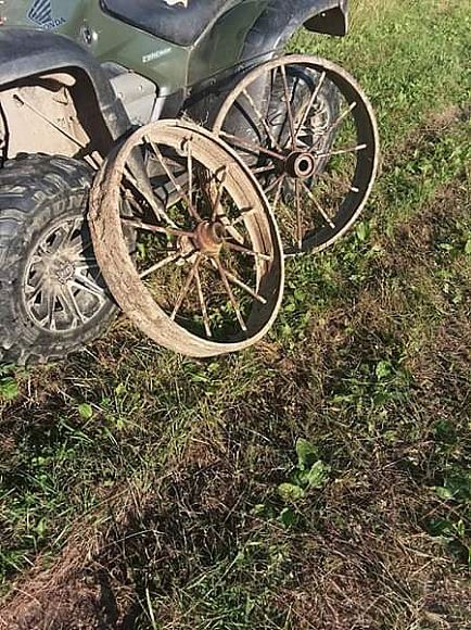 ad i have three wagon wheels $50 each in very good shape for his old as they are