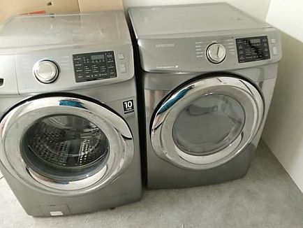 ad stainless steel samsung washer and dryer