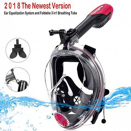 ad the newest version full face snorkel mask