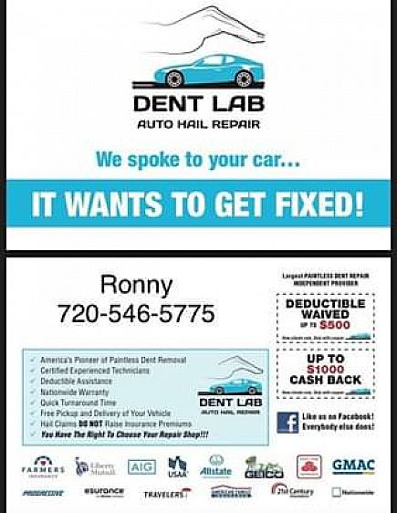 ad get paid up to $1000 to fix your hail damage on your car or truck!