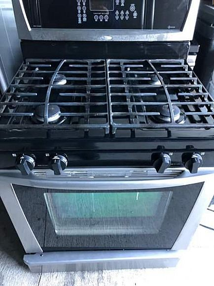 ad whirlpool stainless steel gas stove