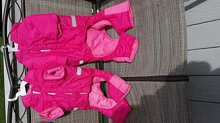 ad pink doggie snow suit large
