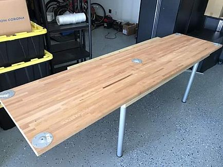 "ad butcher block desk and work surface, 2x8"", untreated hardwood"