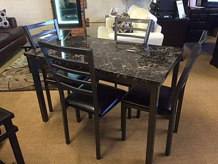 ad great looking iron & faux marble dining/dinette set with 4 - chairs