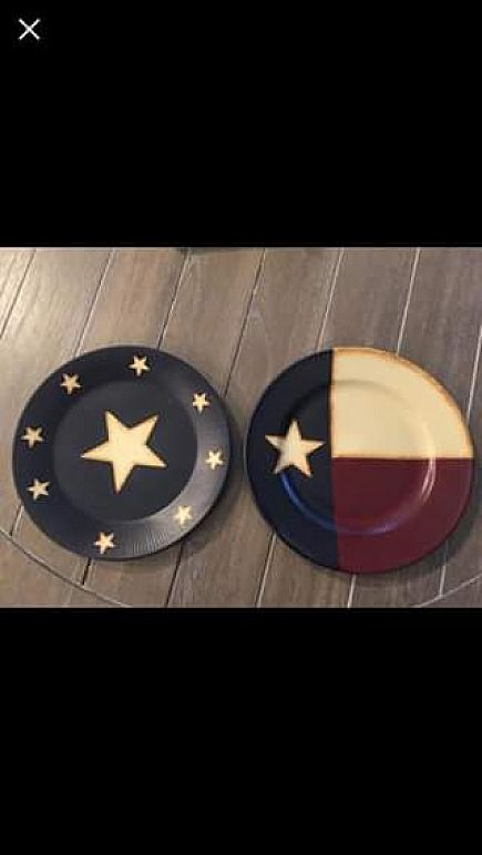 ad two (2) hand painted texas plates decor