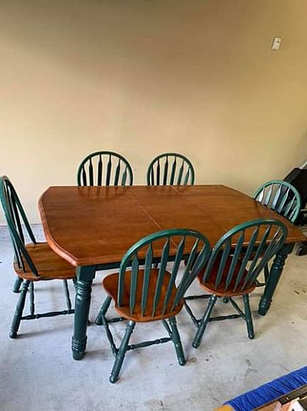 ad beautiful, solid wood table and six chairs. $260 obo