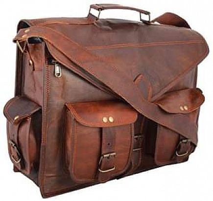 ad leather laptop briefcase messenger satchel bag