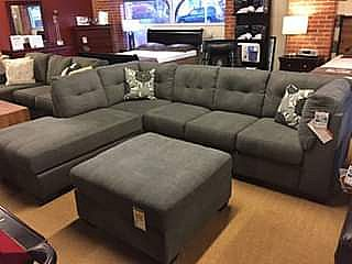 ad ★ gray - l-shape sectional/sofa with chaise ★ 115 long ★ new