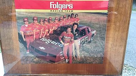 ad nascar photos on wood stand can be hung on wall or stand alone