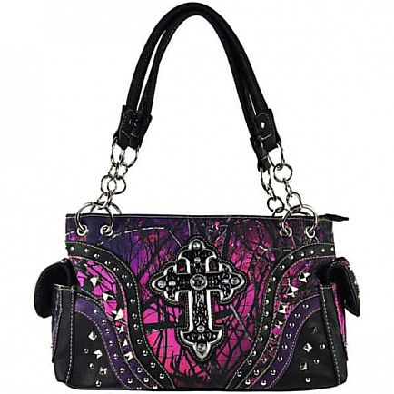 ad muddy girl camo purple studded rhinestone cross shoulder handbag concealed carry