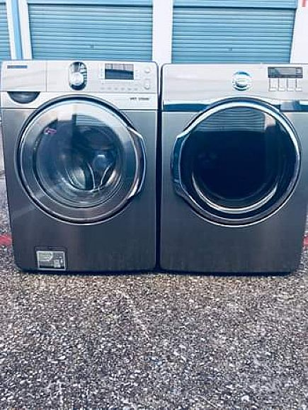 ad nice samsung stainless steel , washer and dryer set , with warranty