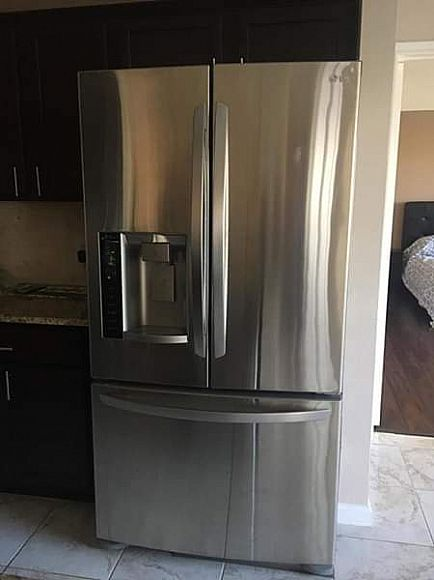 ad lg stainless steel refrigerator