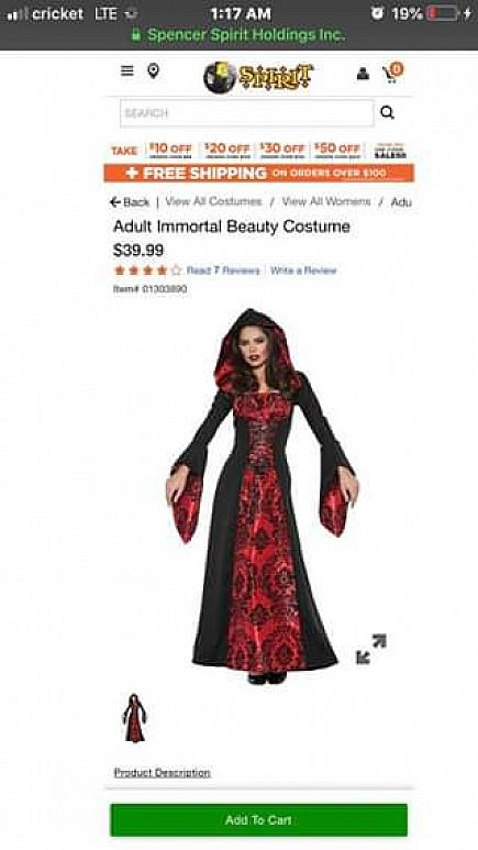 ad immortal beauty costume