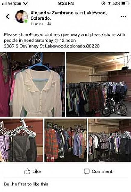 ad clothes for people in need!! come stop by this saturday @ 12noon