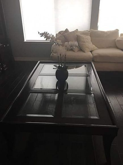 ad coffee table brown/glass