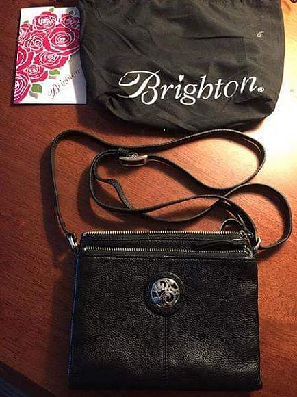 ad reduced! / new / brighton black leather compartment bag