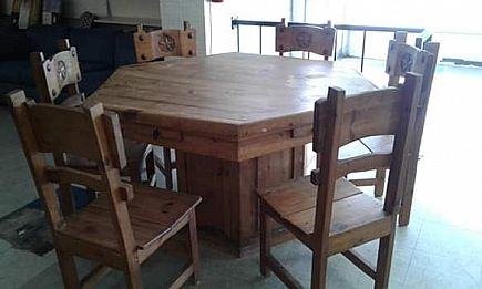 ad western game table & 6 chairs