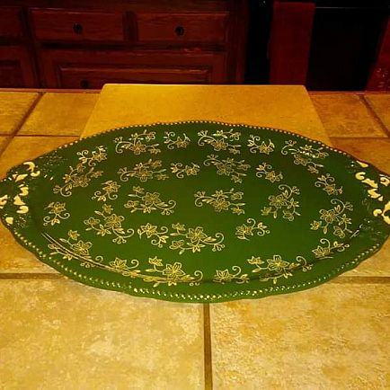 ad lg. gorgeous green floral lace temptations platter, textured handles new. oven safe to 500 degrees