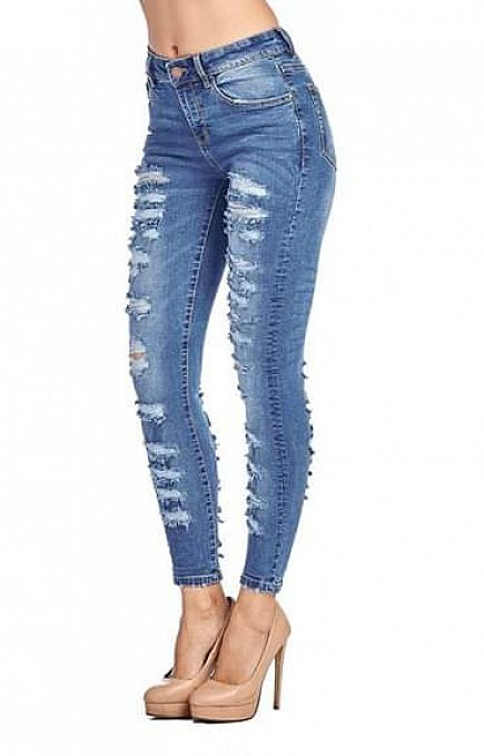 ad new! double ripped ladies skinny jeans!