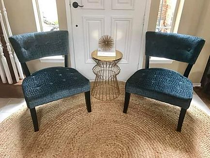 ad beautiful pair of modern plush teal accent chairs