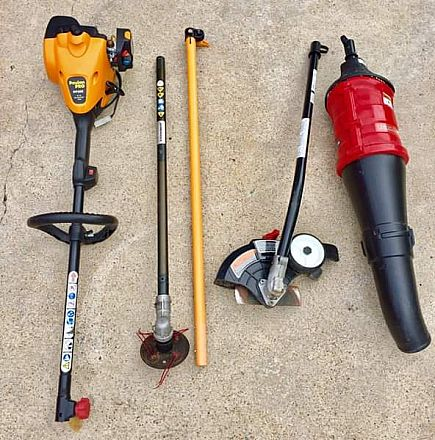 ad poulan pro 2-cycle gas weed trimmer with attachments , weed eater , blower , edger. and extension al