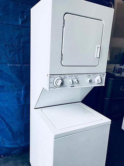 ad 24 inch stackable washer and dryer! closet size! ge brand
