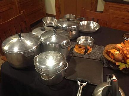 ad large collection of stainless cookware including revere and all-clad