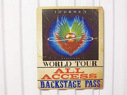 ad journey evolution world tour all access backstage pass metal sign! band music rock roll classic