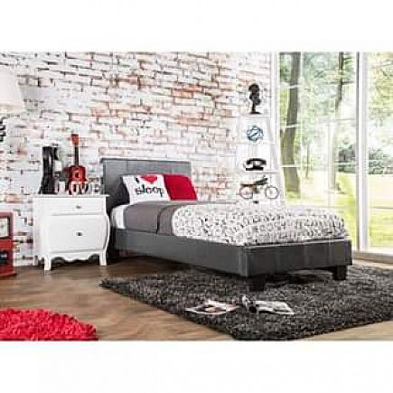 ad gray leatherette platform twin bed- new in box