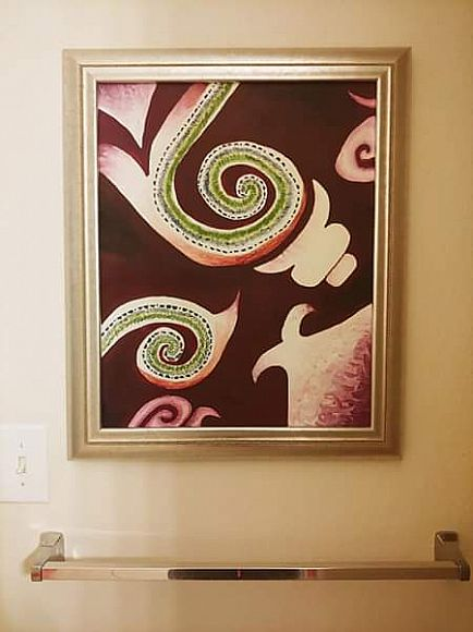 ad beautiful artwork in silver/pewter frame (purples/greens/pinks/white)
