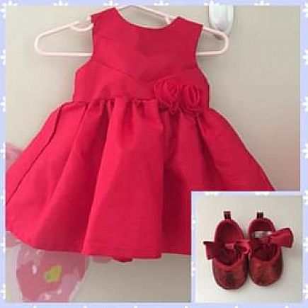 ad baby christmas dress and shoes