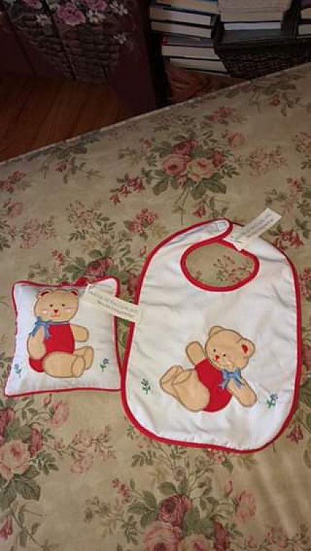 ad new hand made musical baby pillow and matching bib