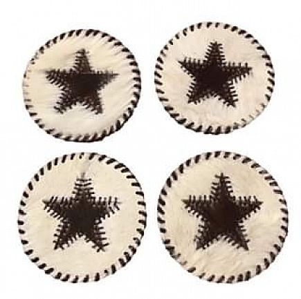 ad cowhide drink coasters new