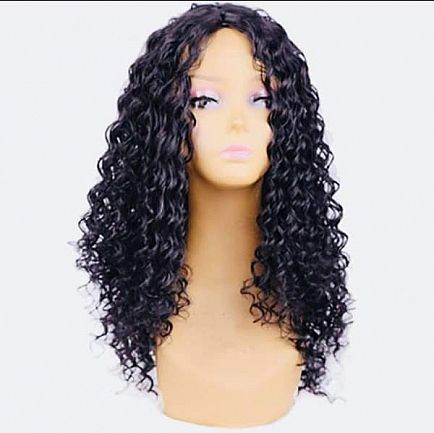 ad very full long curly pre-plucked wig with bleached knots