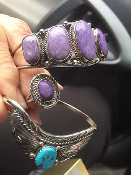 ad authentic charolite stones sterling silver cuff bracelet. charolite sterling silver ring.