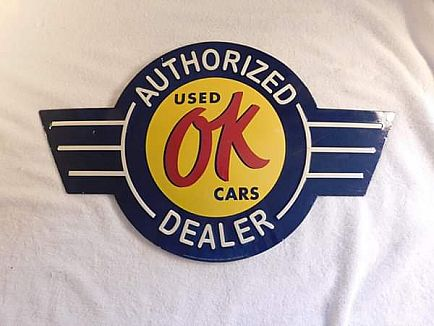 ad general motors ok used cars authorized dealer metal sign - reproduction