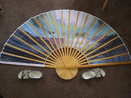 ad large face fan hand painted 5ft x 2.5 ft