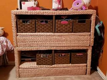 ad stackable wicker storage cubby