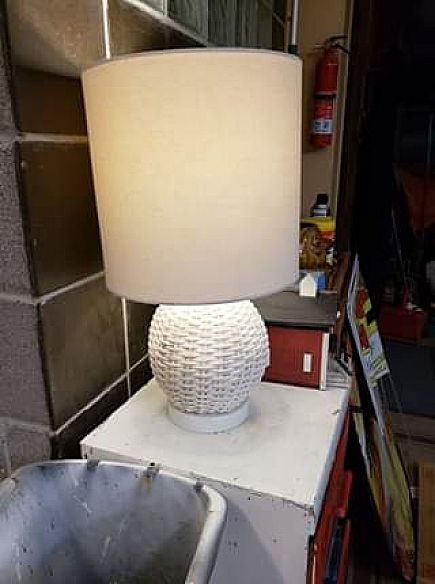 ad small, vintage wicker lamp