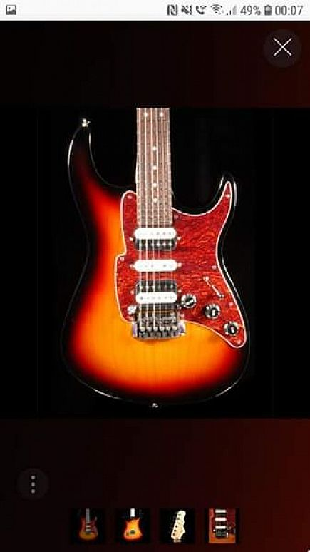 ad fret king black label supermatic in classic burst with case.