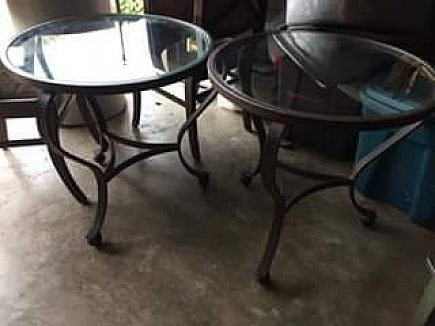 ad two metal end tables with glass tops