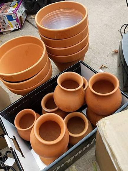 ad wedding decor- matching set of vases and terracotta pots