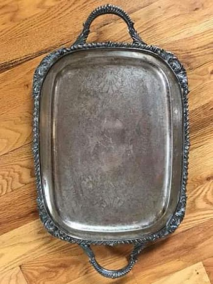 ad antique silver platter