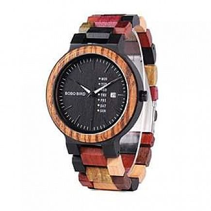 ad men's colorful wooden watch, week & date display quartz watches handmade slackful wood wrist watch -